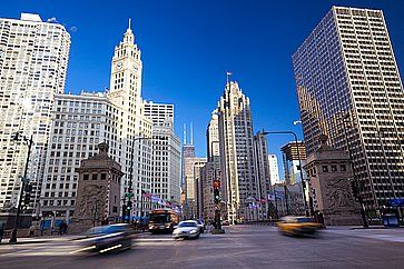 Michigan Avenue Bridge e Magnificent Mile a Chicago.