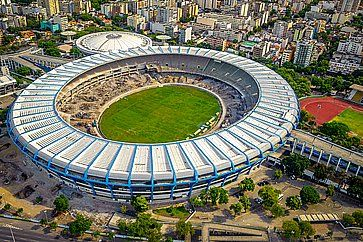 Vista aerea dello Stadio Maracana a Rio De Janeiro.