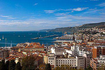 Vista di Trieste dall'alto e il porto.