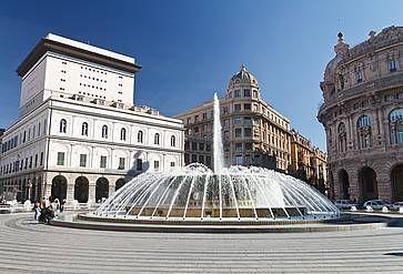 La fontana a Piazza De Ferrari a Genova.