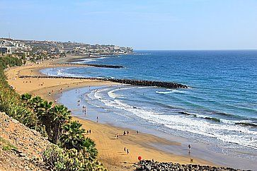 Panorama della spiaggia di Playa Ingles a Gran Canaria.