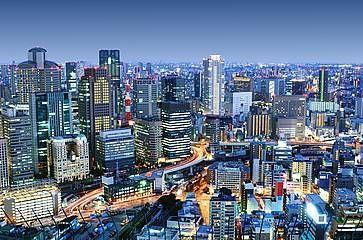 Skyline di Osaka fotografato dalla zona di Umeda.