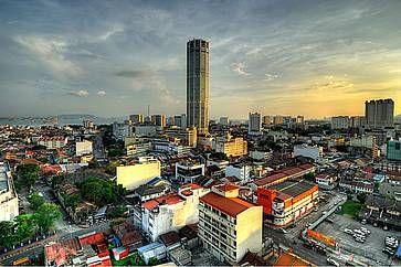 La Menara Komtar Complex, l'edificio più alto di Penang.