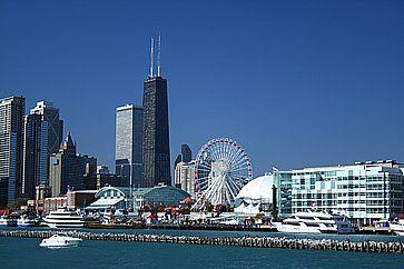 Skyline di Chicago e Navy Pier.