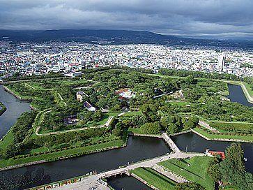 Il forte Goryokaku a forma di stella, ad Hakodate.