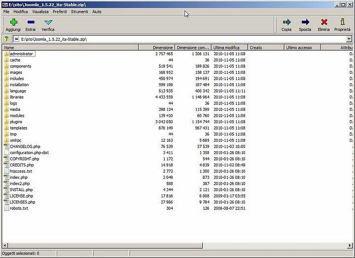 File Zip di Joomla