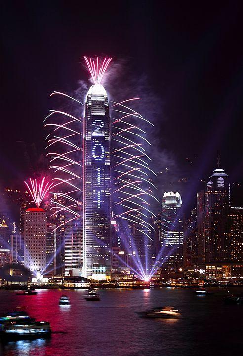 luci per capodanno a Hong Kong