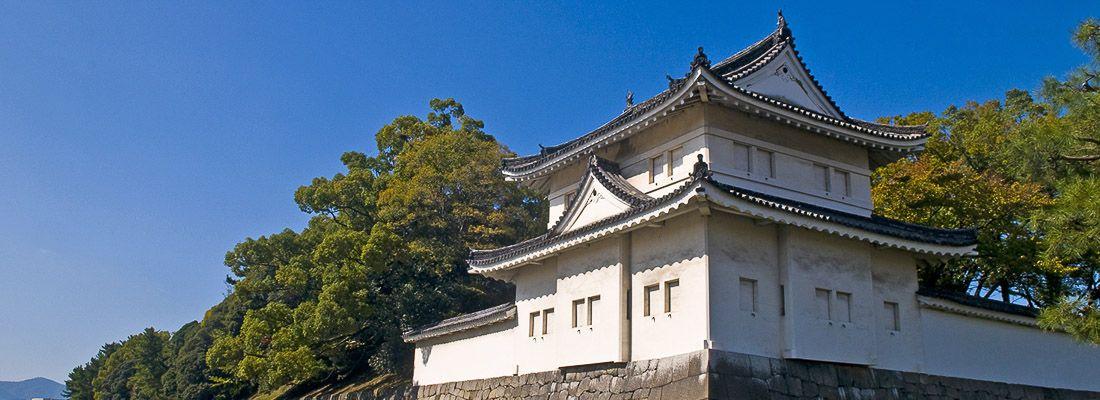 L'esterno del castello di Nijo e il vicino fossato.