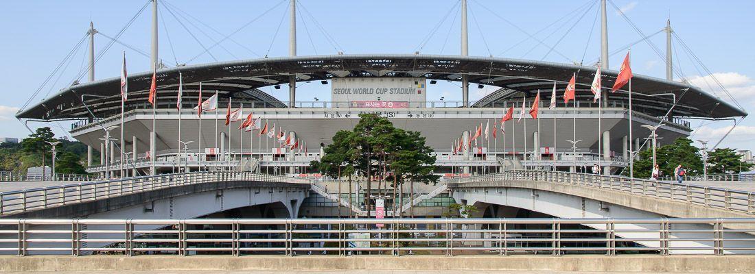 Il Seoul World Cup Stadium dall'esterno.