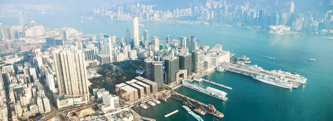 La vista dall'osservatorio Sky 100 ad Hong Kong.