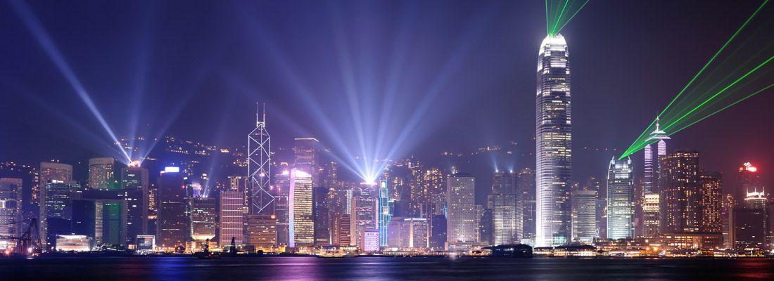 Giochi di luci durante la Symphony of Lights.