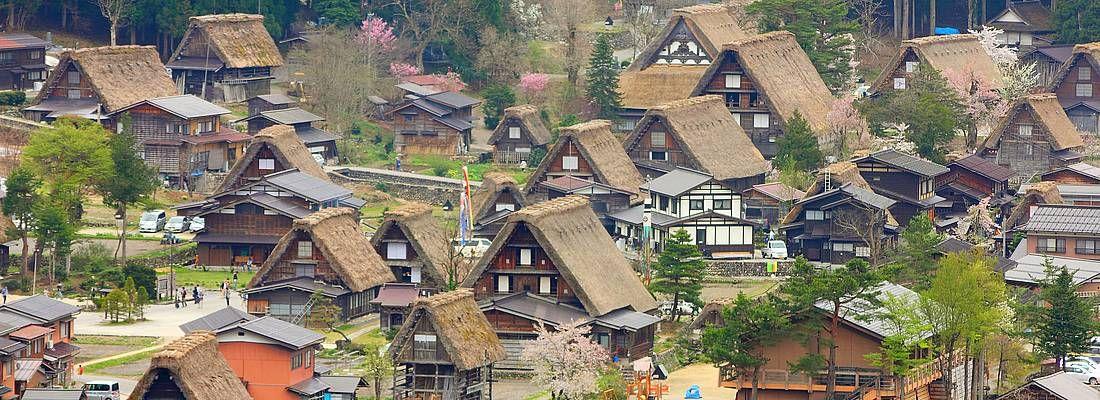Vista del villaggio di Shirakawa-go dall'alto, e le case dai tradizionali tetti in paglia.