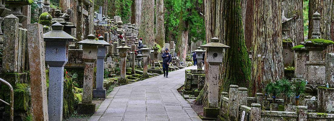 La pittoresca strada che attraversa il cimitero di Okunoin al Monte Koya.