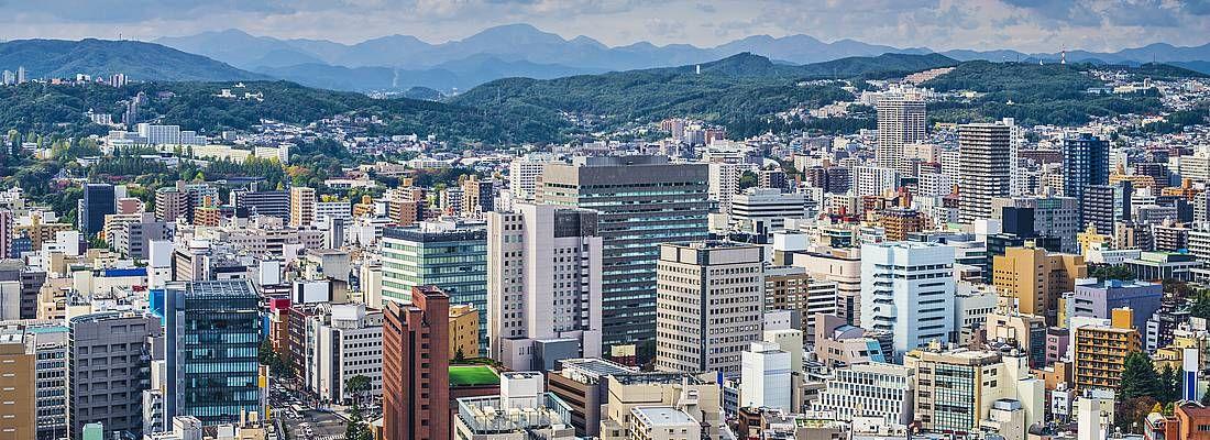 Vista della città di Sendai.