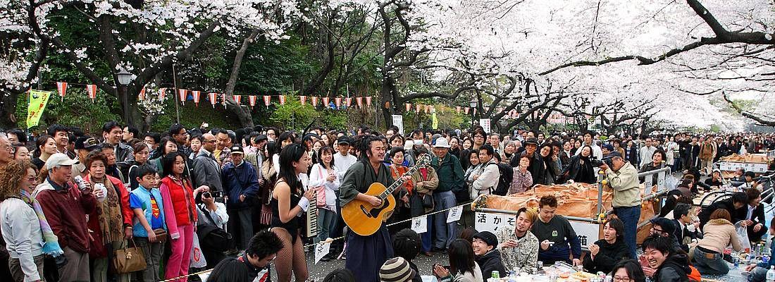 Folla di persone, alcuni camminano, altri fanno un pic nic, al Parco di Ueno in primavera.