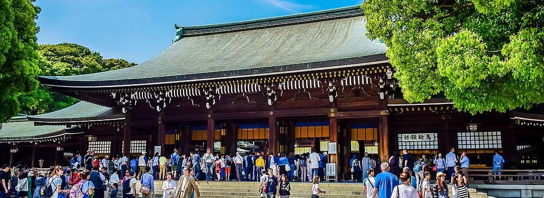 Il santuario Meiji in una giornata di sole.