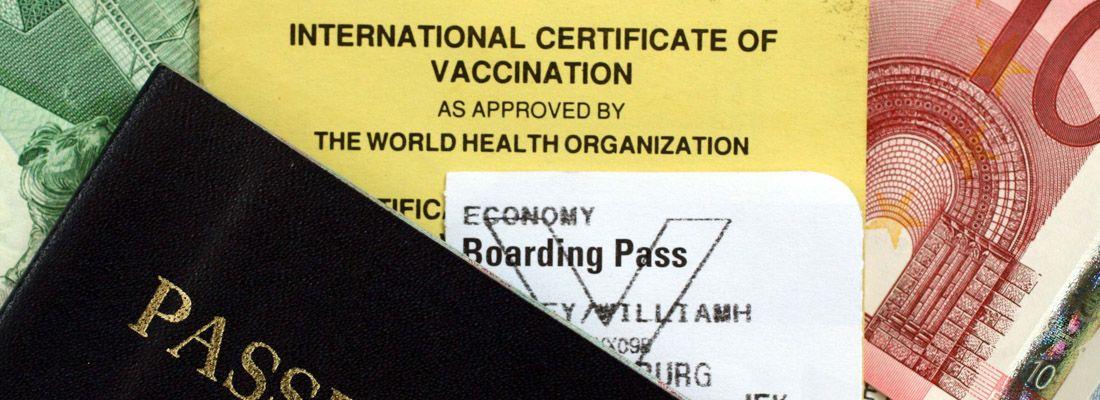 Passaporto e certificato internazionale di vaccinazione.
