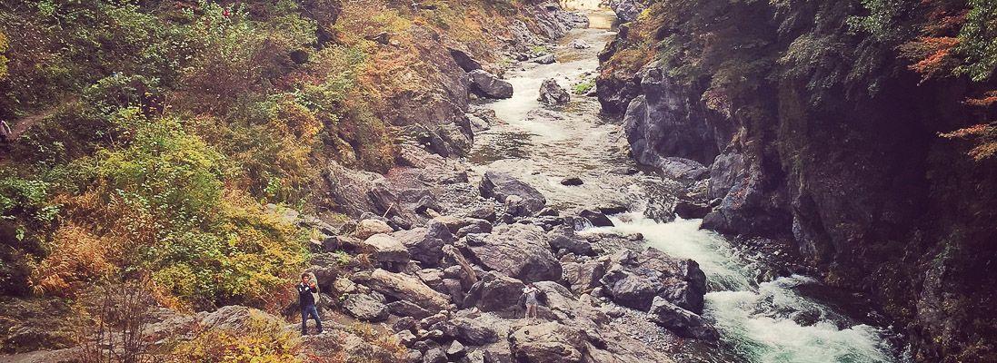 Torrente in una valle ad Okutama.