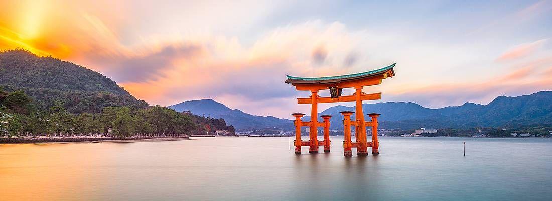 Il torii di Miyajima al tramonto.