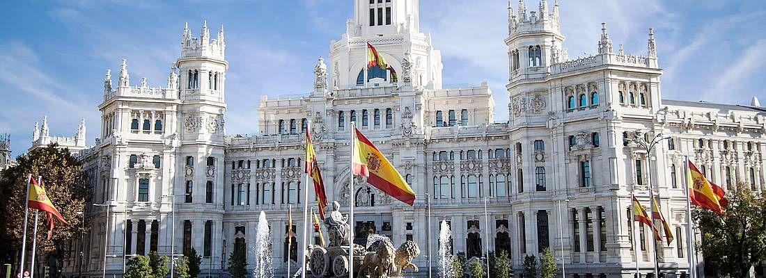 La Fontana di Cibele e il palazzo de Comunicaciones, a Madrid.