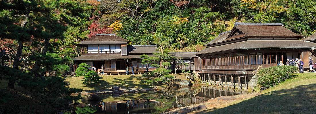 Il giardino Sankeien ed alcuni edifici tradizionali.