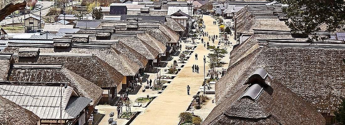 Il villaggio di Ouchijuku visto dall'alto.