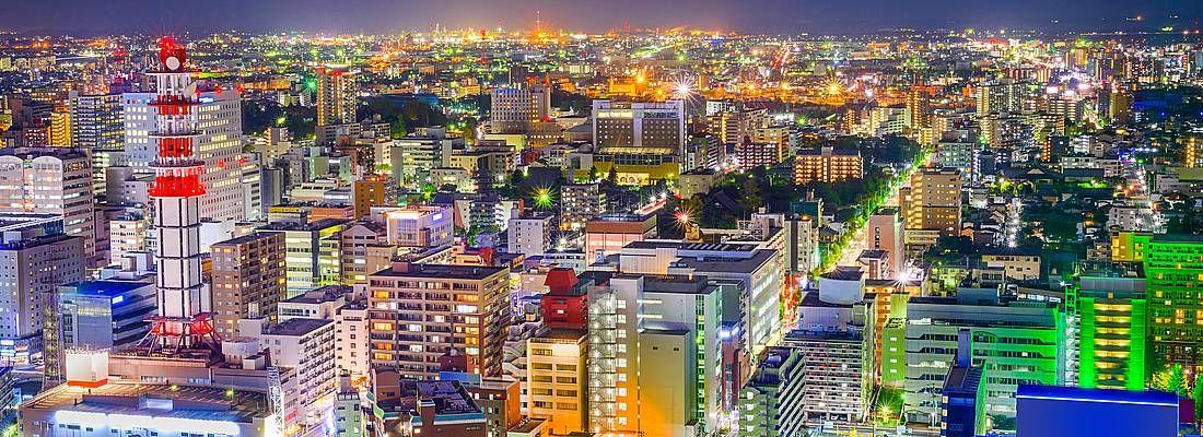 Sendai vista dall'alto, di notte.