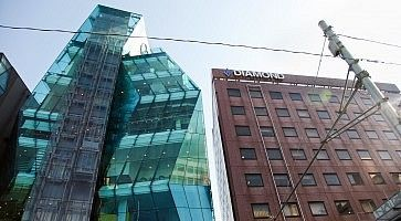 """L'edificio """"the iceberg a Tokyo"""", un tempo chiamato """"Audi Forum""""."""