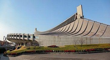 Esterno dell'edificio Yoyogi National Gymnasium.