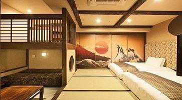 Stanza tradizionale con tatami all'hotel Centurion di Ueno.