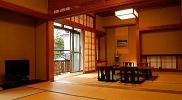 Stanza con tatami all'Hoeiso Ryokan di Hakone.