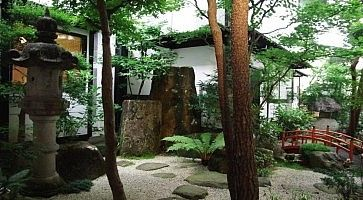 Il giardino dell'Oyado Yamakyu a Takayama.
