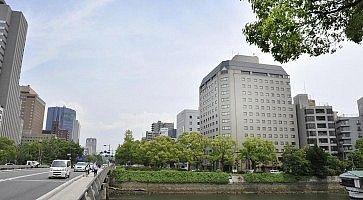 Esterno del Sunroute Hotel di Hiroshima.
