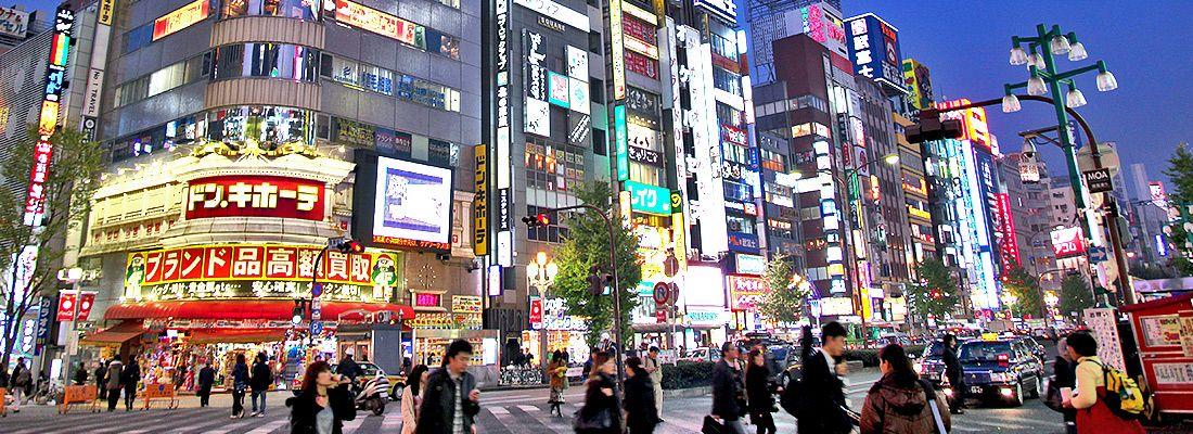 La zona di Shinjuku Eset, ricca di luci a neon.