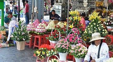 Fiori freschi in vendita al mercato dei fiori di Bangkok.