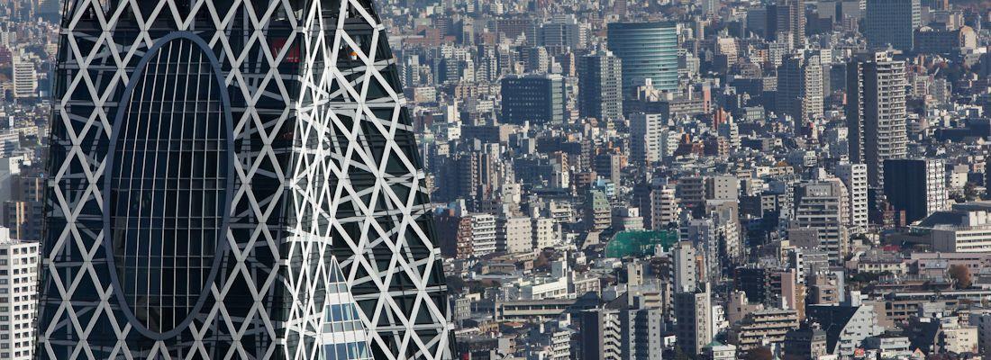 La parte alta della Cocoon Tower in primo piano, e sullo sfondo la città di Tokyo.