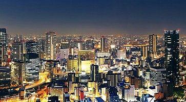 Panorama di Osaka di notte.