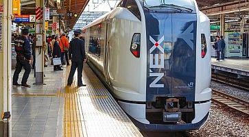 Il treno Narita Express fermo in stazione.