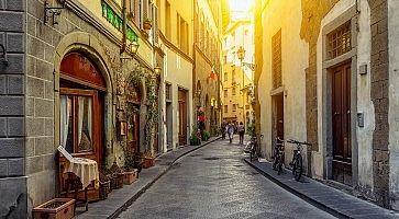 Narrow cozy street in Florence, Tuscany. Italy