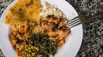 Traditional African dinner on  plate in Kenya