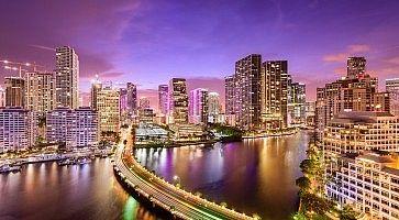 Miami, Florida Night Skyline