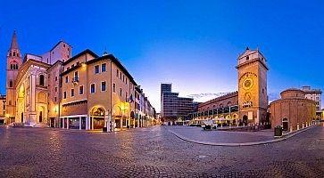Mantova city Piazza delle Erbe evening view