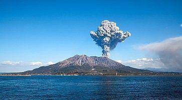 KAGOSHIMA CITY, JAPAN - FEBRUARY 15:  Volcano Mt Sakurajima erupting . Kagoshima City, Japan, February 15, 2011