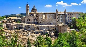 Landmarks of Italy. panoramic view of Urbino,Unesco site. Marche