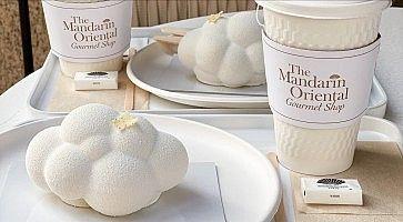 """Dettaglio del dolce """"kumo cake"""" al Gourmet Shop al Mandarin Oriental Hotel di Tokyo."""