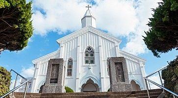 Una chiesa bianca a Nagasaki.